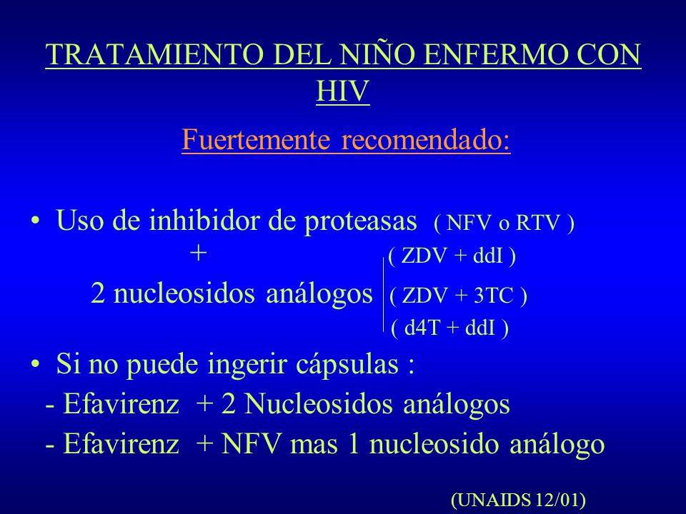 TRATAMIENTO DEL NIÑO ENFERMO CON HIV Fuertemente recomendado: Uso de inhibidor de proteasas ( NFV o RTV ) + ( ZDV + ddI ) 2 nucleosidos análogos ( ZDV