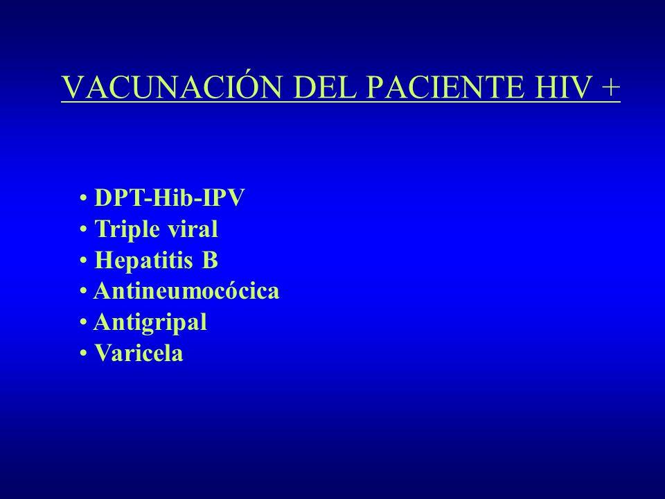 VACUNACIÓN DEL PACIENTE HIV + DPT-Hib-IPV Triple viral Hepatitis B Antineumocócica Antigripal Varicela