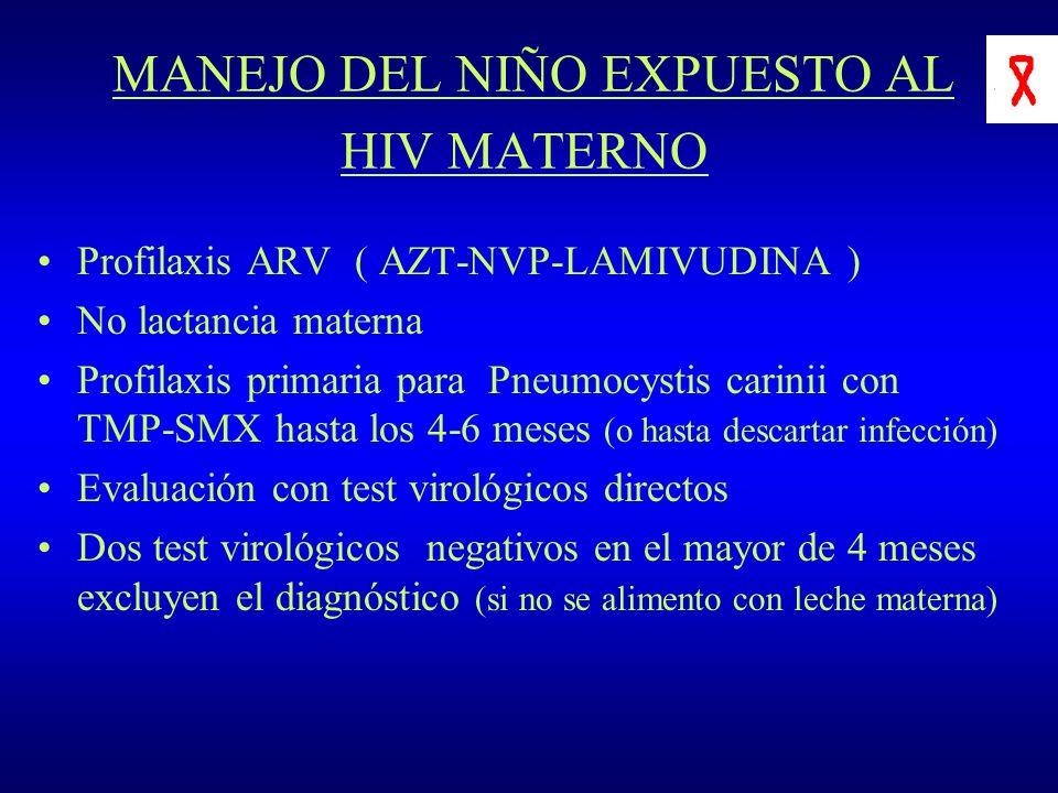 MANEJO DEL NIÑO EXPUESTO AL HIV MATERNO Profilaxis ARV ( AZT-NVP-LAMIVUDINA ) No lactancia materna Profilaxis primaria para Pneumocystis carinii con T