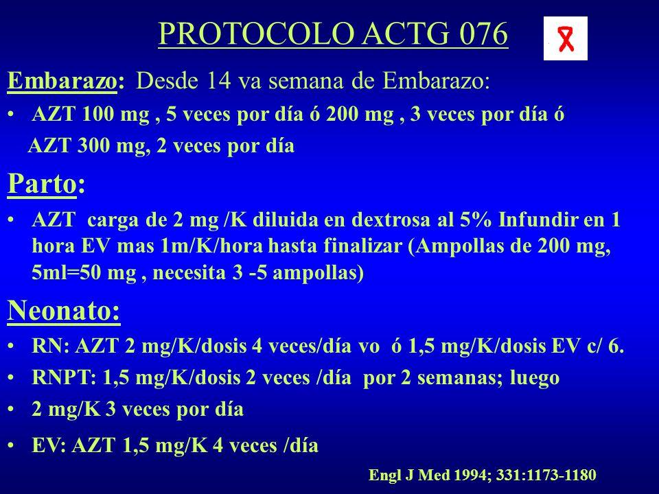 PROTOCOLO ACTG 076 Embarazo: Desde 14 va semana de Embarazo: AZT 100 mg, 5 veces por día ó 200 mg, 3 veces por día ó AZT 300 mg, 2 veces por día Parto