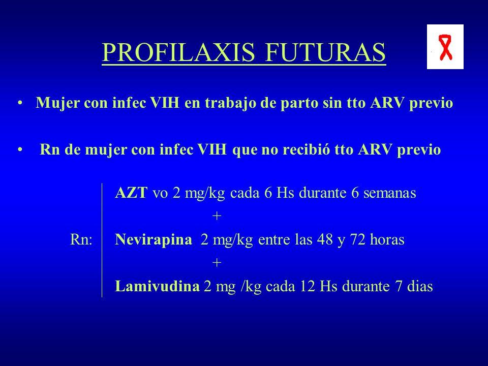 PROFILAXIS FUTURAS Mujer con infec VIH en trabajo de parto sin tto ARV previo Rn de mujer con infec VIH que no recibió tto ARV previo AZT vo 2 mg/kg c