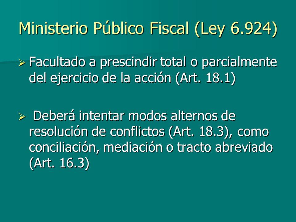 Ministerio Público Fiscal (Ley 6.924) Facultado a prescindir total o parcialmente del ejercicio de la acción (Art. 18.1) Facultado a prescindir total