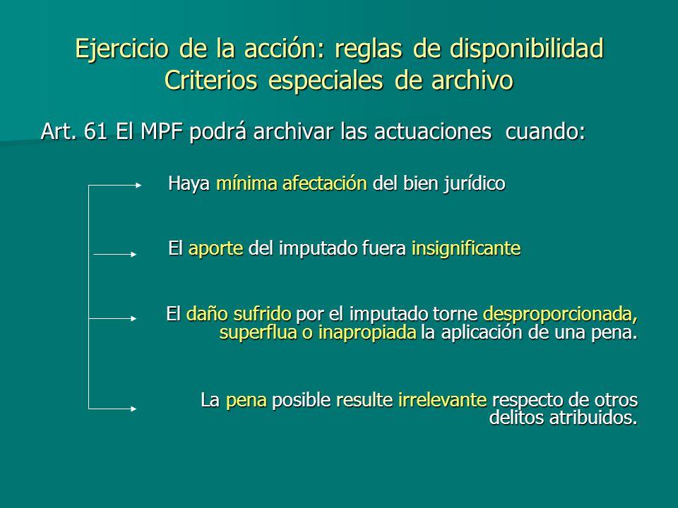 Ejercicio de la acción: reglas de disponibilidad Criterios especiales de archivo Art. 61 El MPF podrá archivar las actuaciones cuando: Haya mínima afe