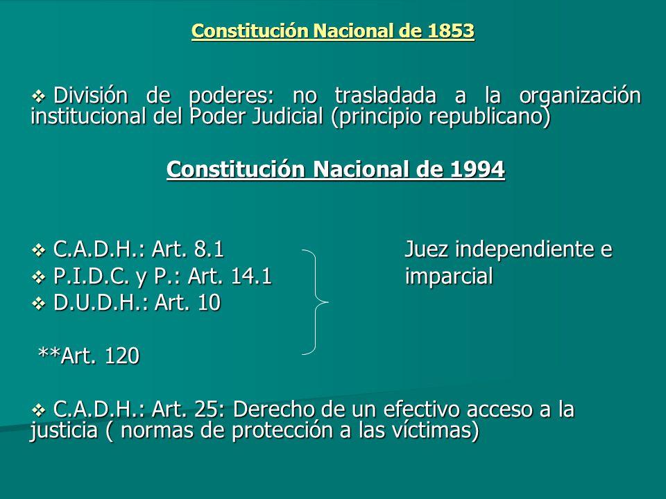 Constitución Nacional de 1853 División de poderes: no trasladada a la organización institucional del Poder Judicial (principio republicano) División d