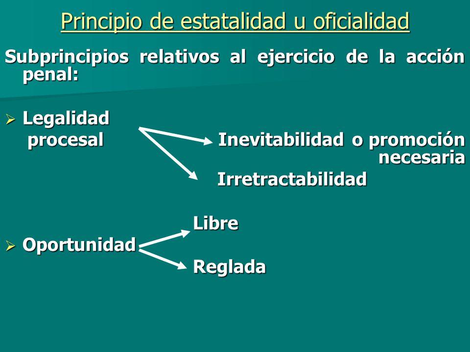 Principio de estatalidad u oficialidad Subprincipios relativos al ejercicio de la acción penal: Legalidad Legalidad procesal Inevitabilidad o promoció