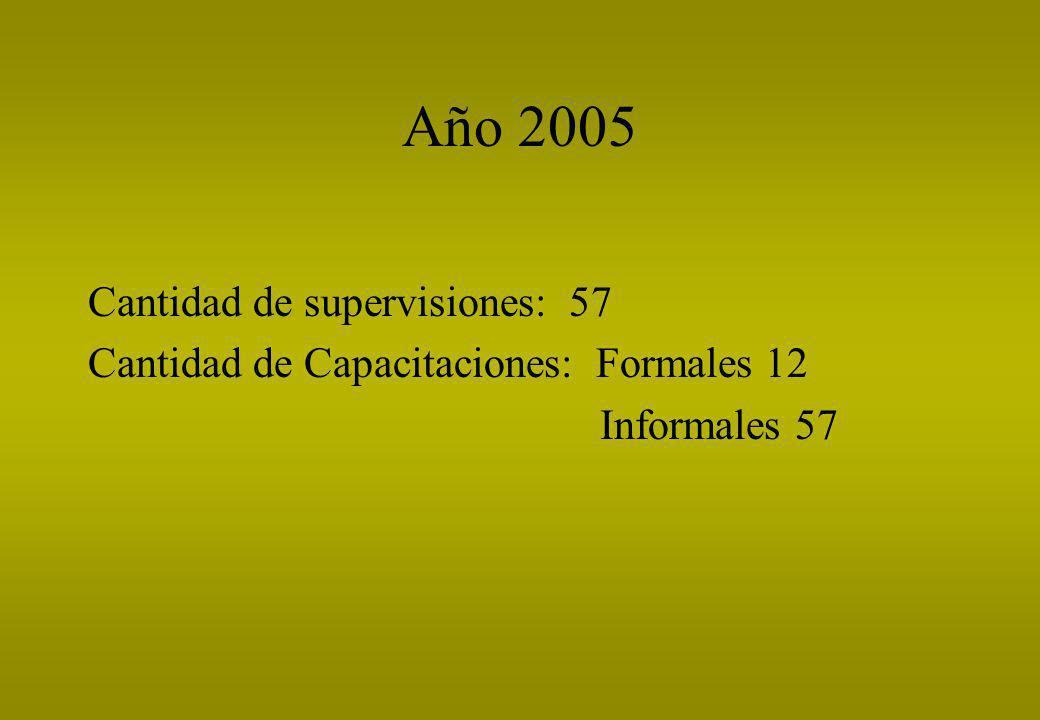 Año 2005 Cantidad de supervisiones: 57 Cantidad de Capacitaciones: Formales 12 Informales 57