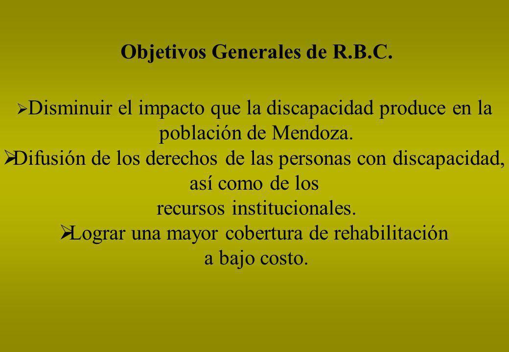 Objetivos Generales de R.B.C. Disminuir el impacto que la discapacidad produce en la población de Mendoza. Difusión de los derechos de las personas co