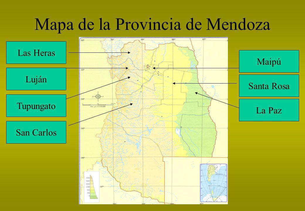 Mapa de la Provincia de Mendoza Maipú Luján Santa Rosa Las Heras Tupungato San Carlos La Paz