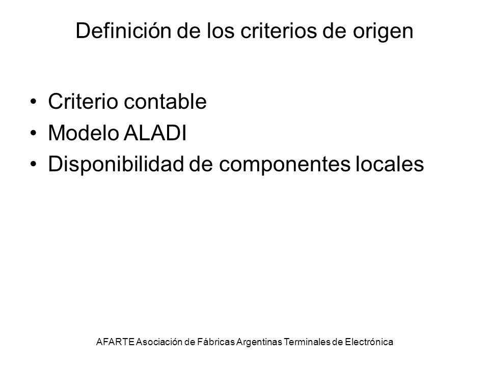Definición de los criterios de origen Criterio contable Modelo ALADI Disponibilidad de componentes locales AFARTE Asociación de Fábricas Argentinas Terminales de Electrónica