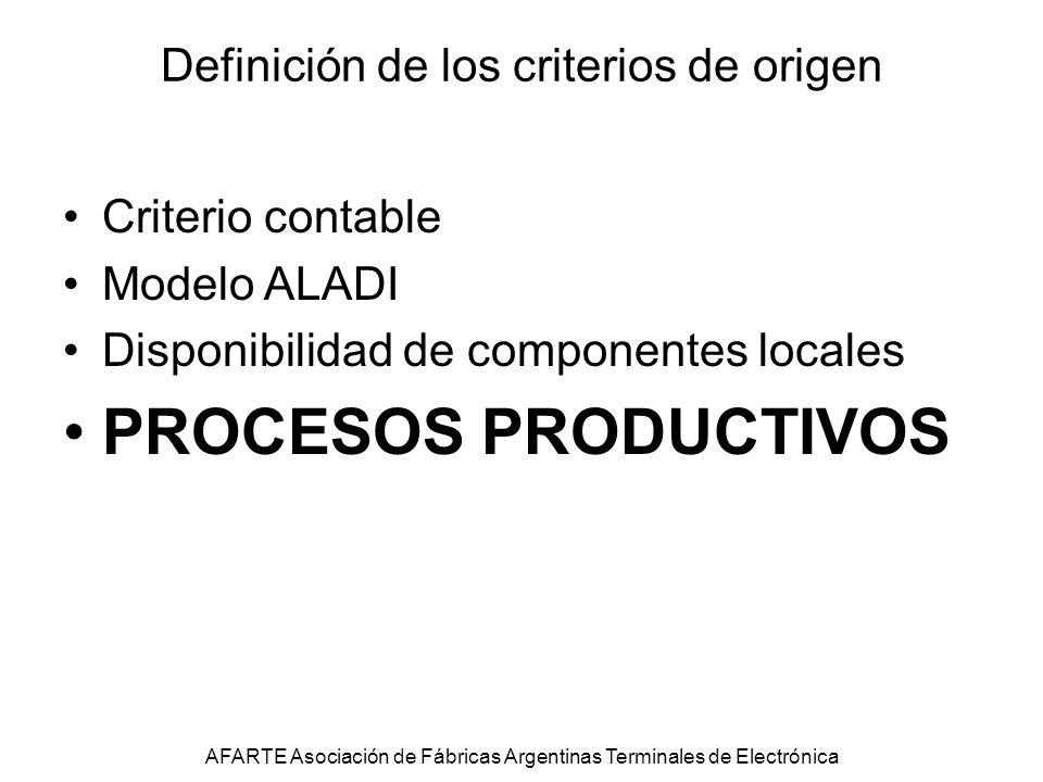 Definición de los criterios de origen Criterio contable Modelo ALADI Disponibilidad de componentes locales PROCESOS PRODUCTIVOS AFARTE Asociación de Fábricas Argentinas Terminales de Electrónica