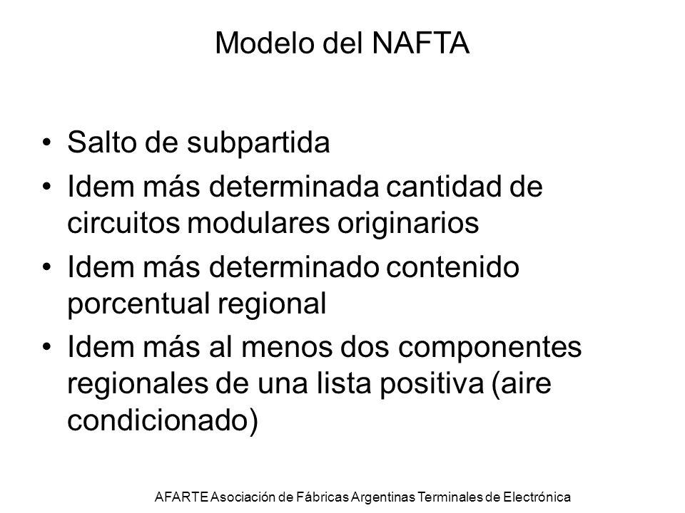 Modelo del NAFTA Salto de subpartida Idem más determinada cantidad de circuitos modulares originarios Idem más determinado contenido porcentual regional Idem más al menos dos componentes regionales de una lista positiva (aire condicionado) AFARTE Asociación de Fábricas Argentinas Terminales de Electrónica