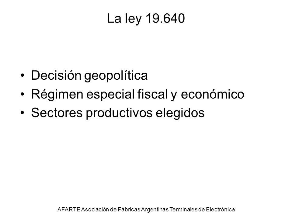 La ley 19.640 Decisión geopolítica Régimen especial fiscal y económico Sectores productivos elegidos AFARTE Asociación de Fábricas Argentinas Terminales de Electrónica