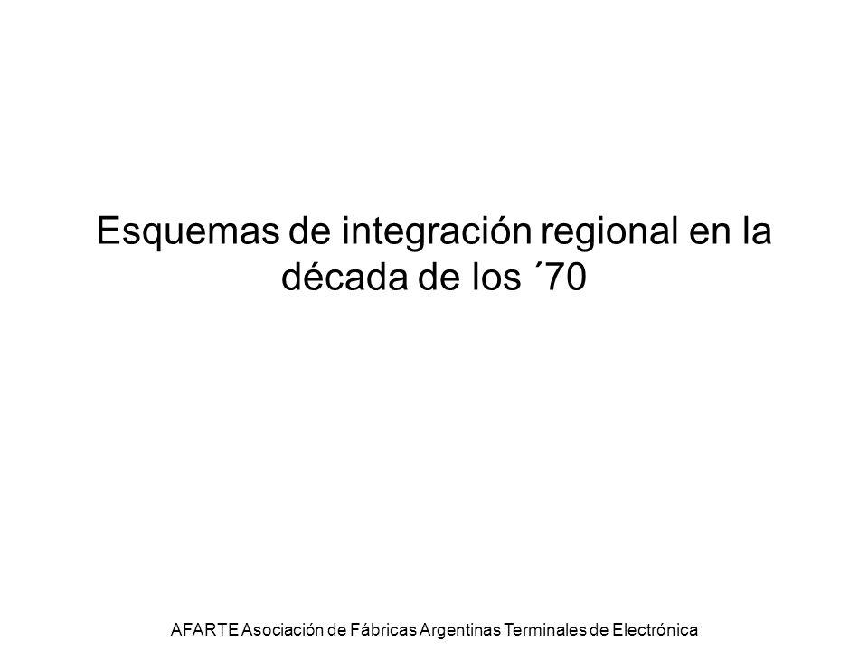 Esquemas de integración regional en la década de los ´70 AFARTE Asociación de Fábricas Argentinas Terminales de Electrónica