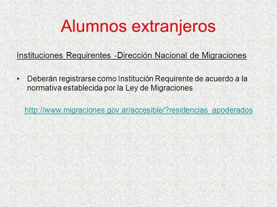 Alumnos extranjeros Instituciones Requirentes -Dirección Nacional de Migraciones Deberán registrarse como Institución Requirente de acuerdo a la norma