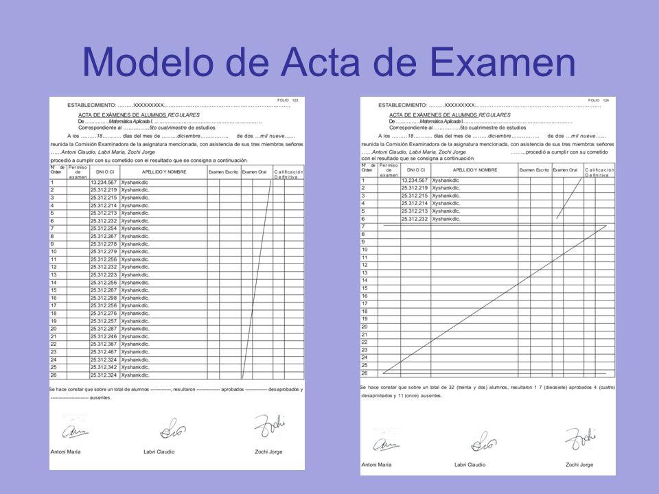 Modelo de Acta de Examen