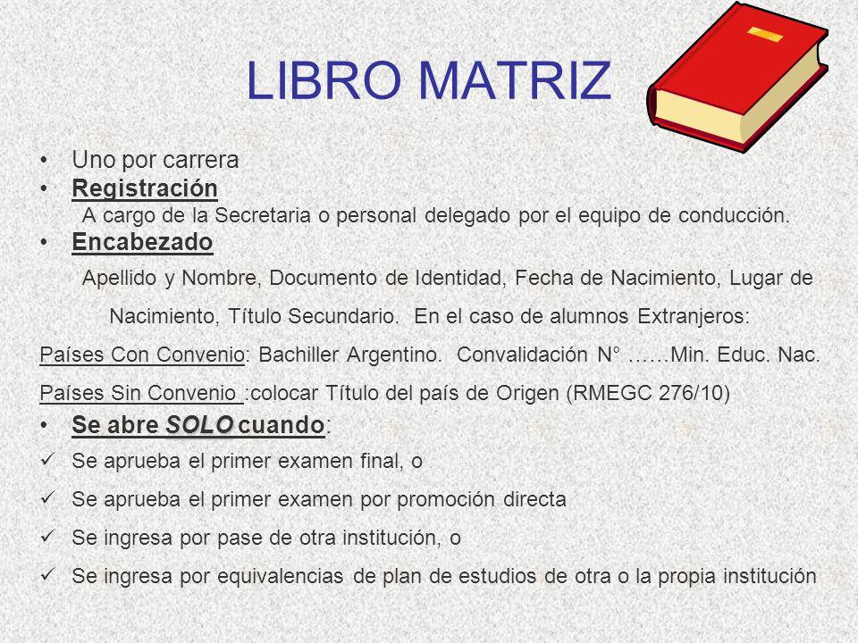 LIBRO MATRIZ Uno por carrera Registración A cargo de la Secretaria o personal delegado por el equipo de conducción. Encabezado Apellido y Nombre, Docu
