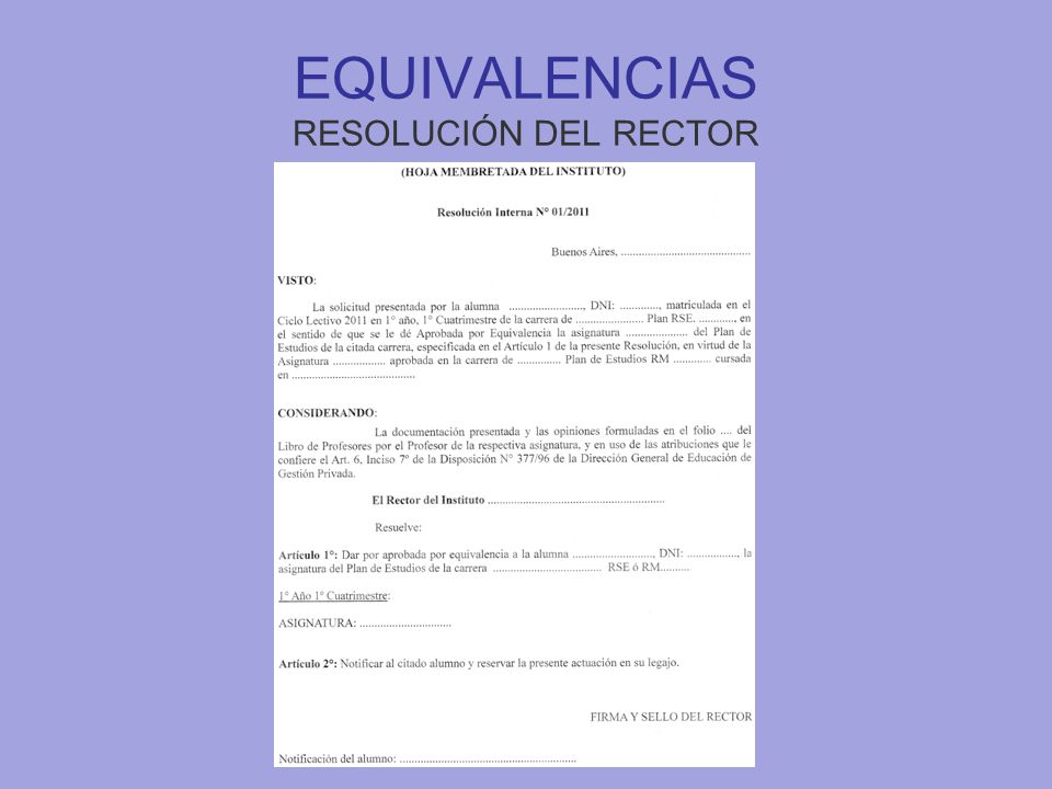 EQUIVALENCIAS RESOLUCIÓN DEL RECTOR