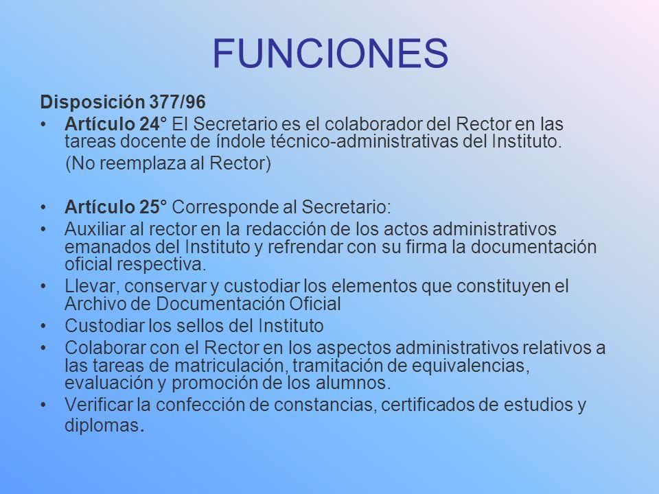 FUNCIONES Disposición 377/96 Artículo 24° El Secretario es el colaborador del Rector en las tareas docente de índole técnico-administrativas del Insti