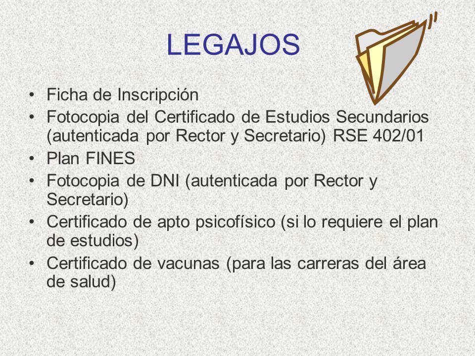 LEGAJOS Ficha de Inscripción Fotocopia del Certificado de Estudios Secundarios (autenticada por Rector y Secretario) RSE 402/01 Plan FINES Fotocopia d