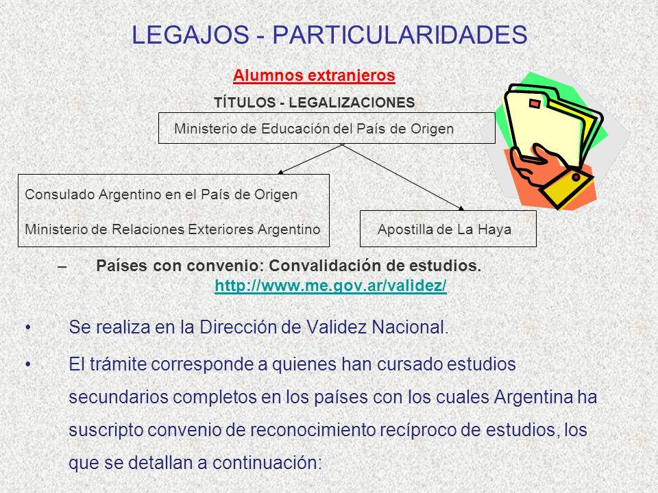 LEGAJOS - PARTICULARIDADES Alumnos extranjeros TÍTULOS - LEGALIZACIONES Ministerio de Educación del País de Origen Consulado Argentino en el País de O