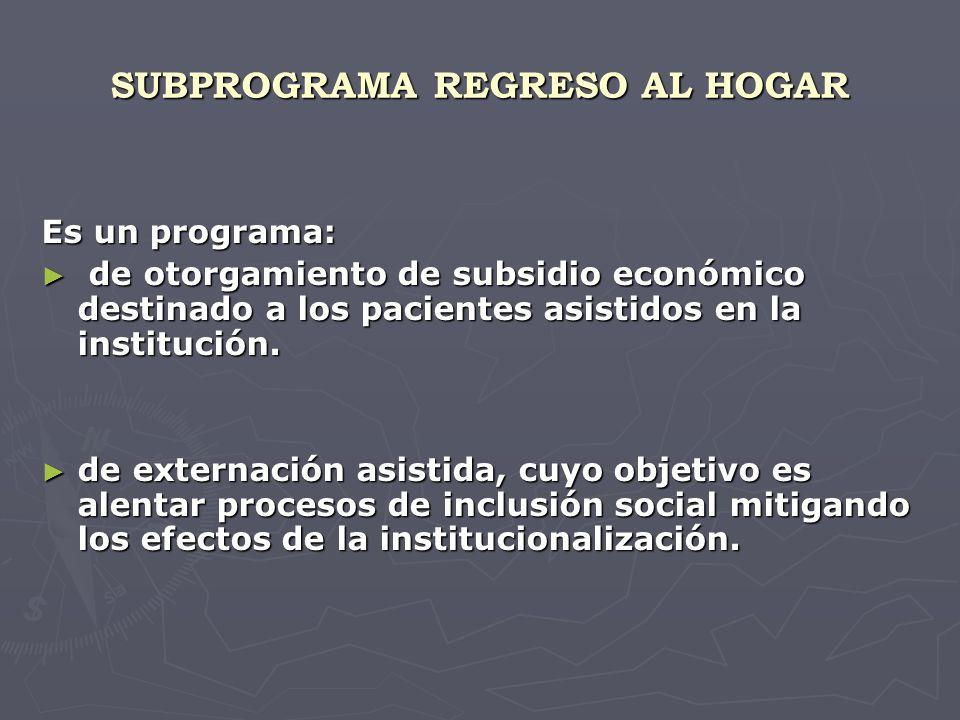 SUBPROGRAMA REGRESO AL HOGAR Es un programa: de otorgamiento de subsidio económico destinado a los pacientes asistidos en la institución.