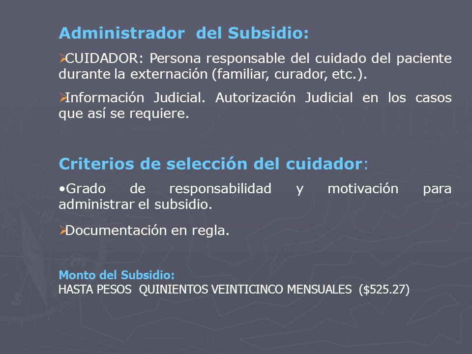Administrador del Subsidio: CUIDADOR: Persona responsable del cuidado del paciente durante la externación (familiar, curador, etc.).
