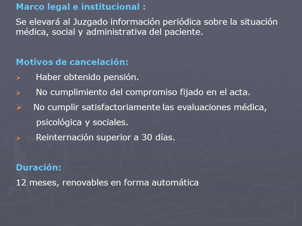 Marco legal e institucional : Se elevará al Juzgado información periódica sobre la situación médica, social y administrativa del paciente.