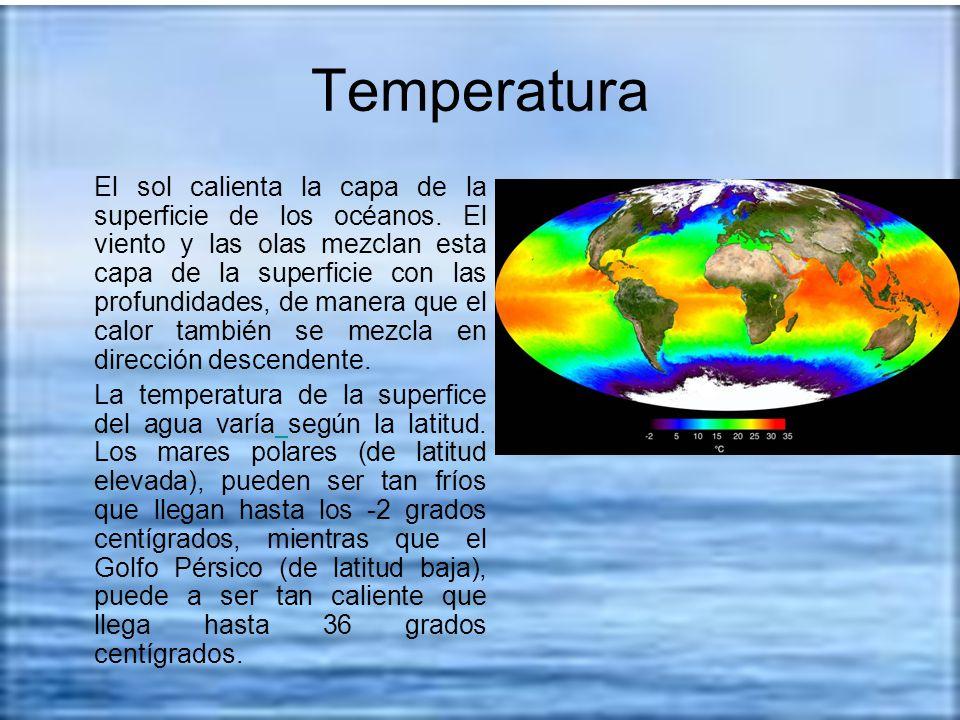 Temperatura El sol calienta la capa de la superficie de los océanos. El viento y las olas mezclan esta capa de la superficie con las profundidades, de