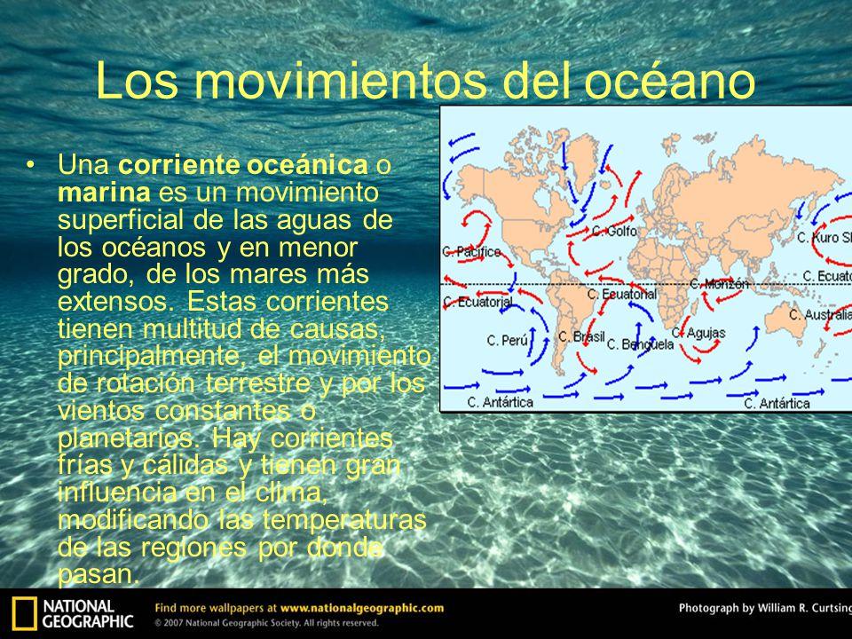 Los movimientos del océano Una corriente oceánica o marina es un movimiento superficial de las aguas de los océanos y en menor grado, de los mares más