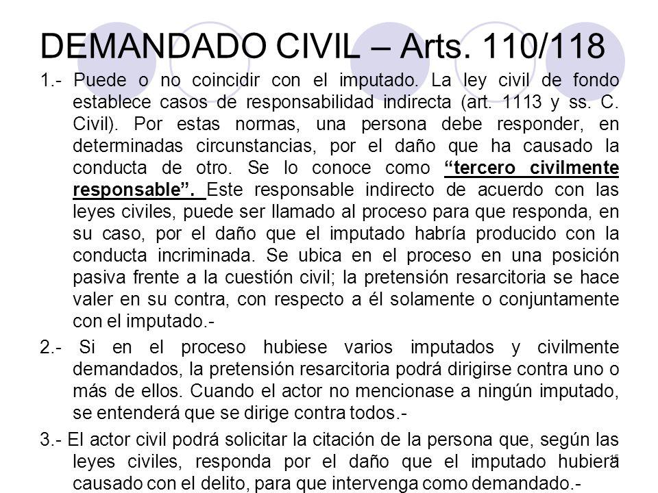 DEMANDADO CIVIL – Arts.110/118 1.- Puede o no coincidir con el imputado.