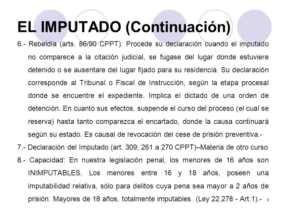 EL IMPUTADO (Continuación) 6.- Rebeldía (arts.