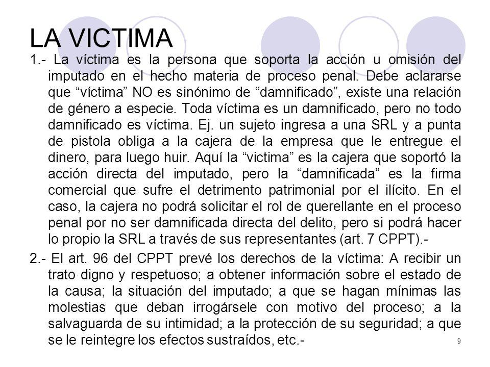 LA VICTIMA 1.- La víctima es la persona que soporta la acción u omisión del imputado en el hecho materia de proceso penal.