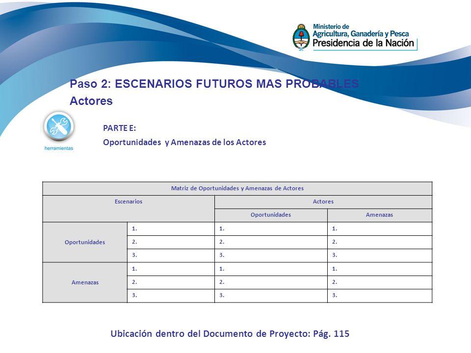 Paso 2: ESCENARIOS FUTUROS MAS PROBABLES Actores PARTE E: Oportunidades y Amenazas de los Actores Matriz de Oportunidades y Amenazas de Actores Escena