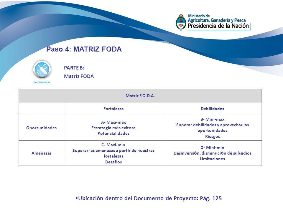 PARTE B: Matriz FODA Paso 4: MATRIZ FODA Matriz F.O.D.A. FortalezasDebilidades Oportunidades A- Maxi-max Estrategia m á s exitosa Potencialidades B- M