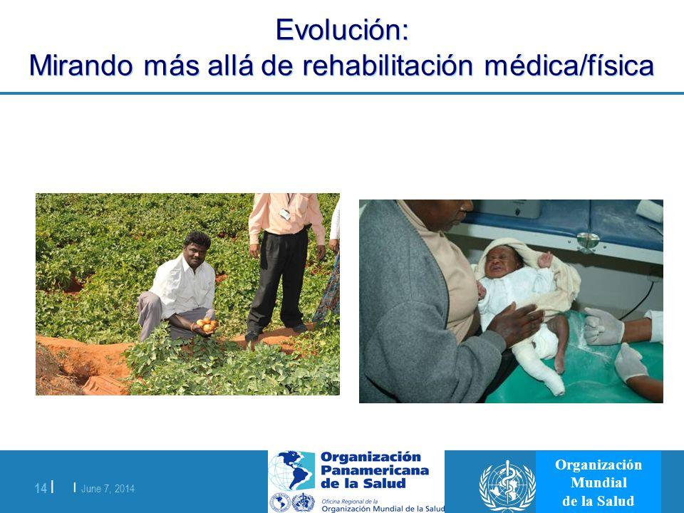 | June 7, 2014 14 | Organización Mundial de la Salud Evolución: Mirando más allá de rehabilitación médica/física