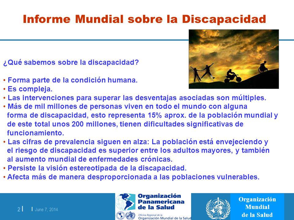 | June 7, 2014 2 | Organización Mundial de la Salud Informe Mundial sobre la Discapacidad ¿Qué sabemos sobre la discapacidad? Forma parte de la condic