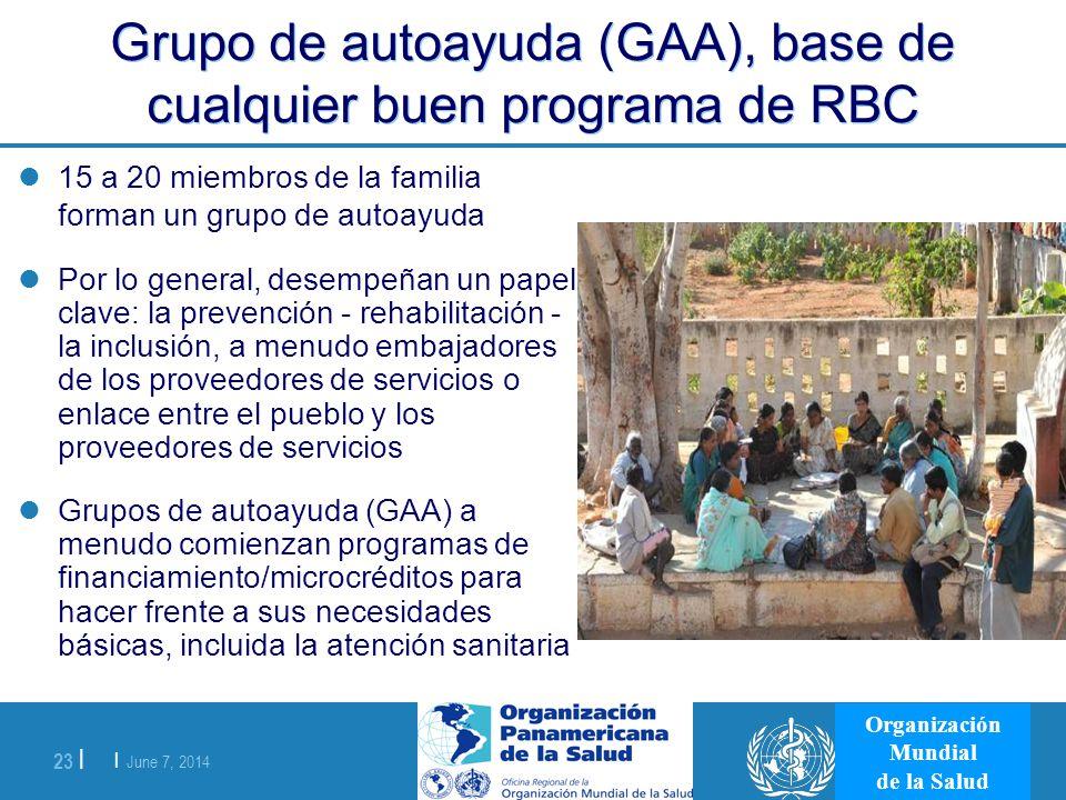 | June 7, 2014 23 | Organización Mundial de la Salud Grupo de autoayuda (GAA), base de cualquier buen programa de RBC 15 a 20 miembros de la familia f