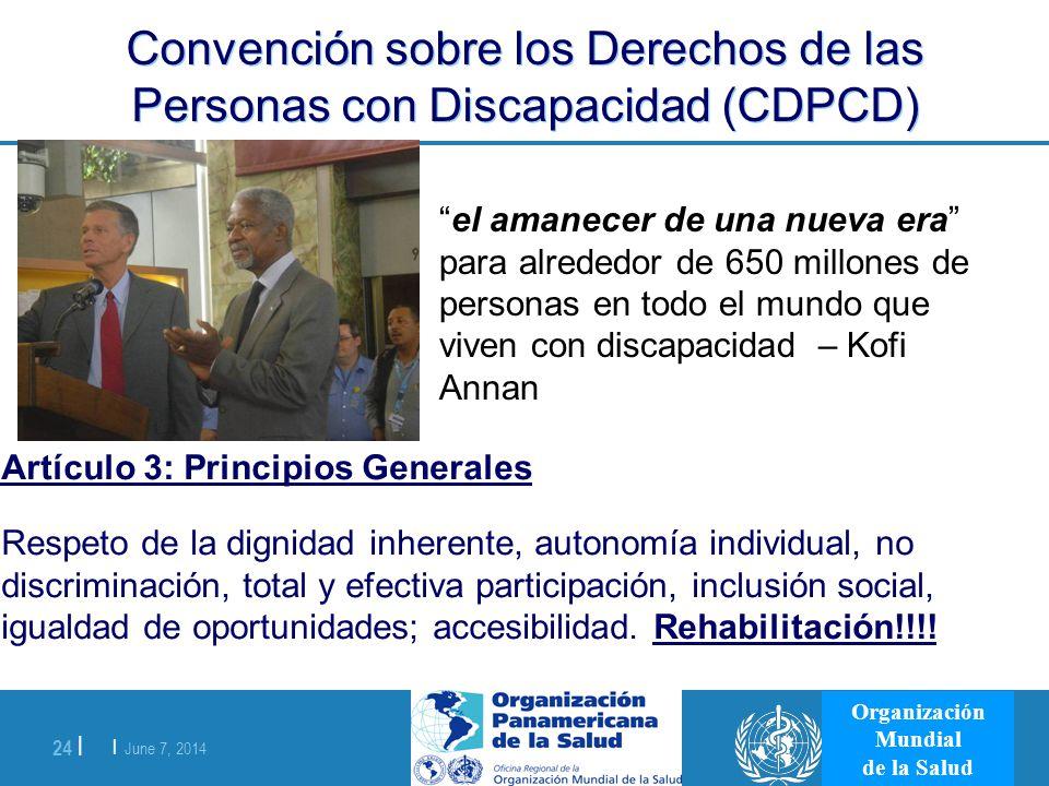 | June 7, 2014 24 | Organización Mundial de la Salud Convención sobre los Derechos de las Personas con Discapacidad (CDPCD) Artículo 3: Principios Gen