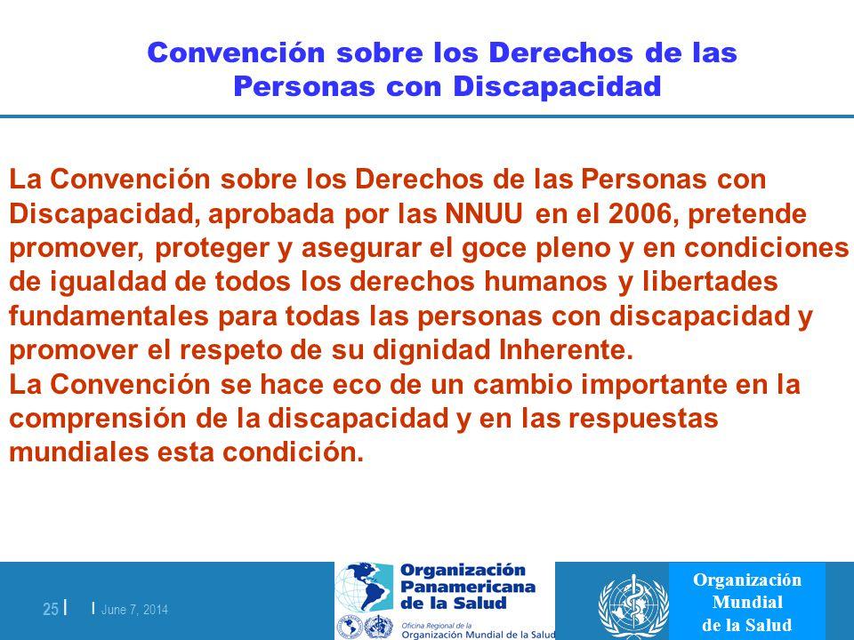 | June 7, 2014 25 | Organización Mundial de la Salud La Convención sobre los Derechos de las Personas con Discapacidad, aprobada por las NNUU en el 20