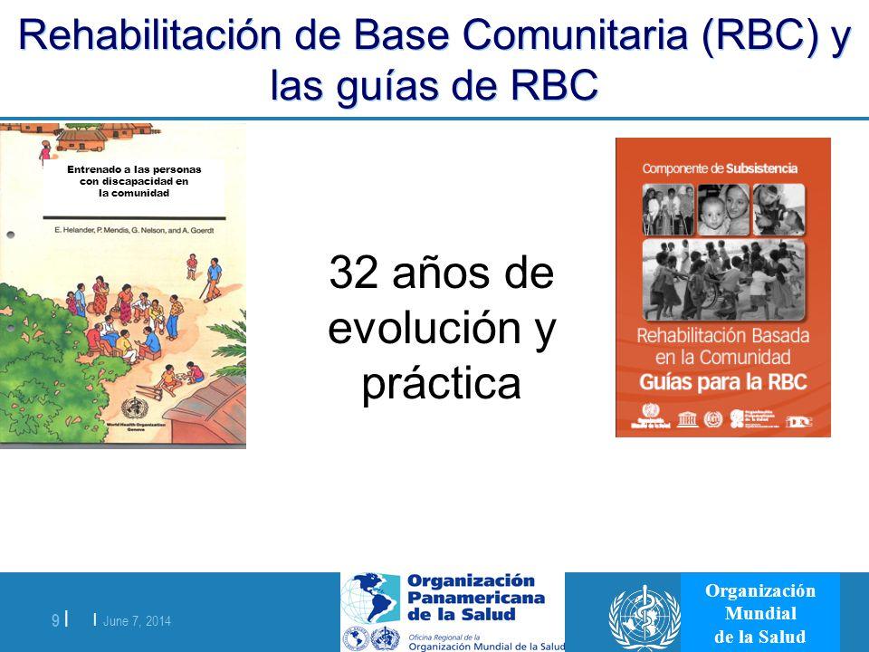 | June 7, 2014 9 | Organización Mundial de la Salud Rehabilitación de Base Comunitaria (RBC) y las guías de RBC 32 años de evolución y práctica Entren
