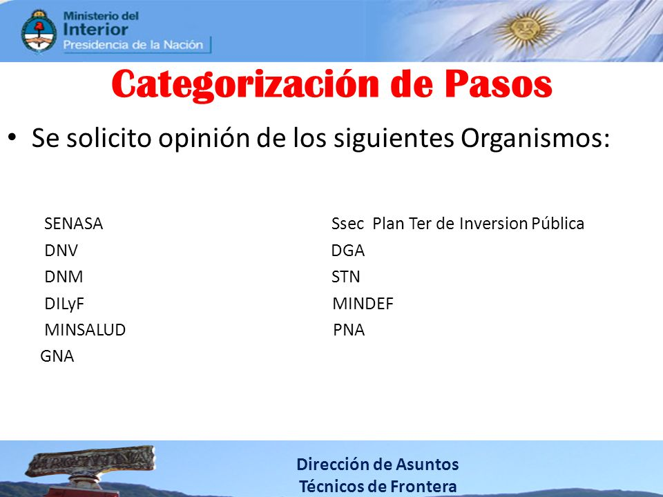 Categorización de Pasos Se solicito opinión de los siguientes Organismos: SENASA Ssec Plan Ter de Inversion Pública DNV DGA DNM STN DILyF MINDEF MINSA