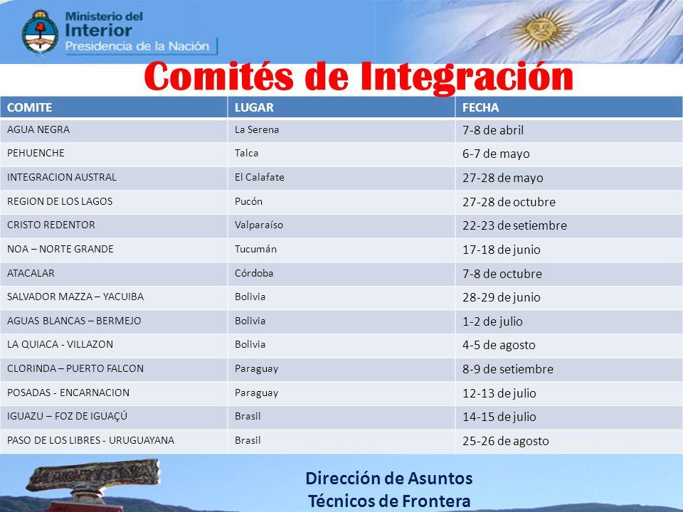 Dirección de Asuntos Técnicos de Frontera COMITELUGARFECHA AGUA NEGRALa Serena 7-8 de abril PEHUENCHETalca 6-7 de mayo INTEGRACION AUSTRALEl Calafate