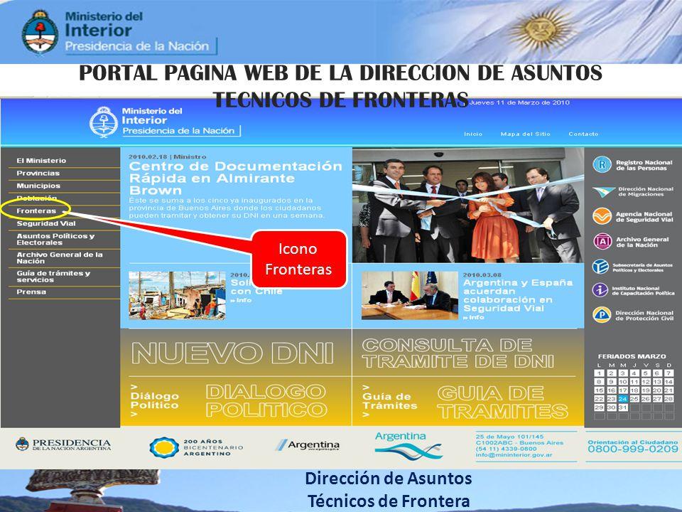 Dirección de Asuntos Técnicos de Frontera Icono Fronteras PORTAL PAGINA WEB DE LA DIRECCION DE ASUNTOS TECNICOS DE FRONTERAS