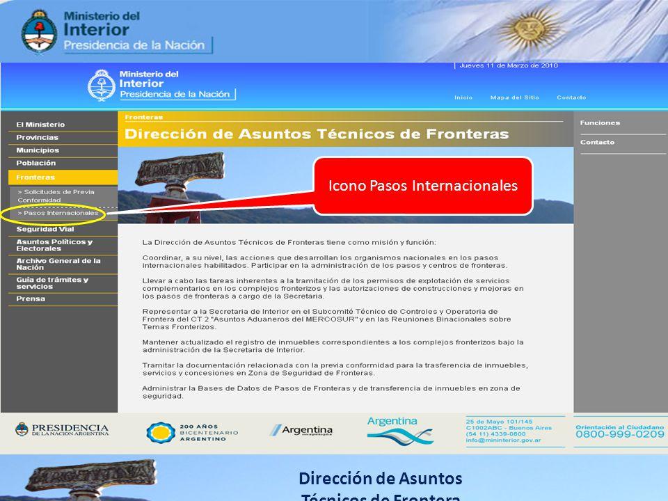 Dirección de Asuntos Técnicos de Frontera Icono Pasos Internacionales