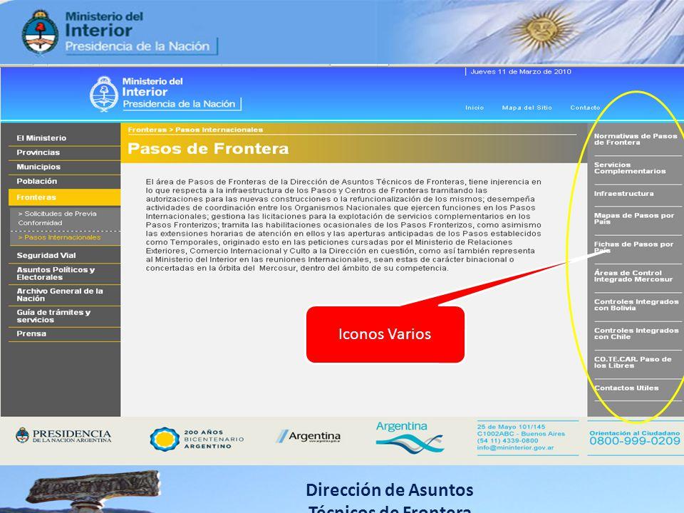 Dirección de Asuntos Técnicos de Frontera Iconos Varios