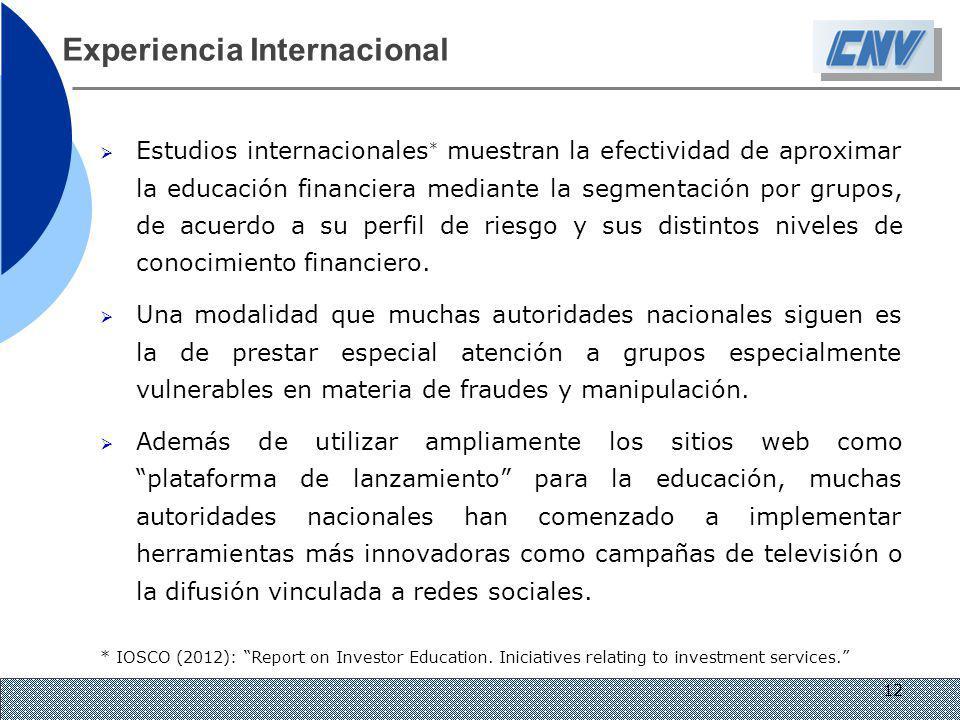 12 Experiencia Internacional Estudios internacionales * muestran la efectividad de aproximar la educación financiera mediante la segmentación por grup