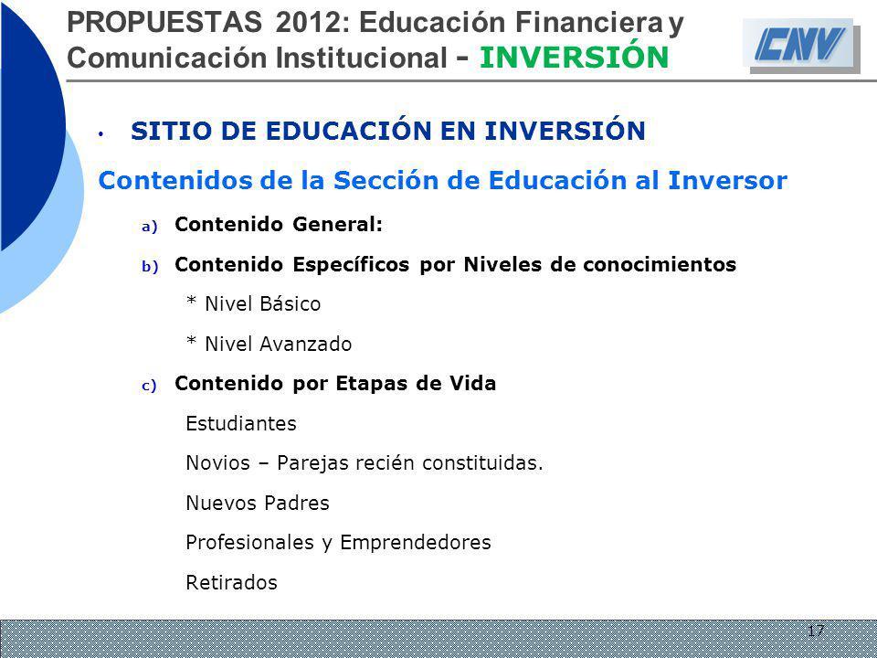 PROPUESTAS 2012: Educación Financiera y Comunicación Institucional - INVERSIÓN SITIO DE EDUCACIÓN EN INVERSIÓN Contenidos de la Sección de Educación a