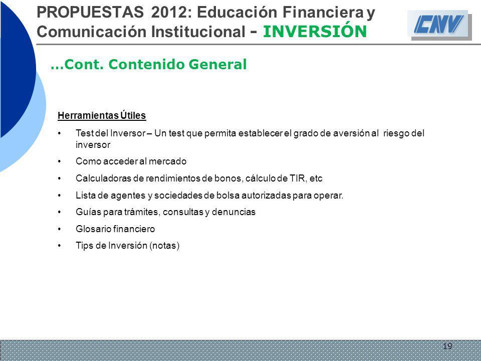 PROPUESTAS 2012: Educación Financiera y Comunicación Institucional - INVERSIÓN …Cont. Contenido General Herramientas Útiles Test del Inversor – Un tes