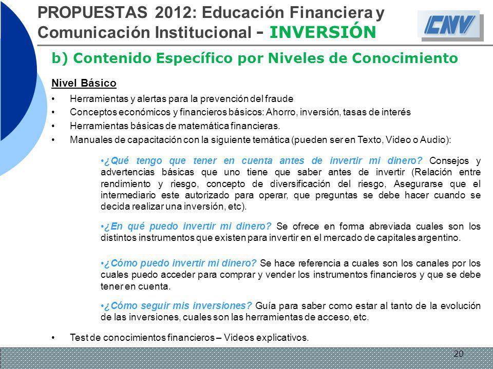 PROPUESTAS 2012: Educación Financiera y Comunicación Institucional - INVERSIÓN b) Contenido Específico por Niveles de Conocimiento Nivel Básico Herram