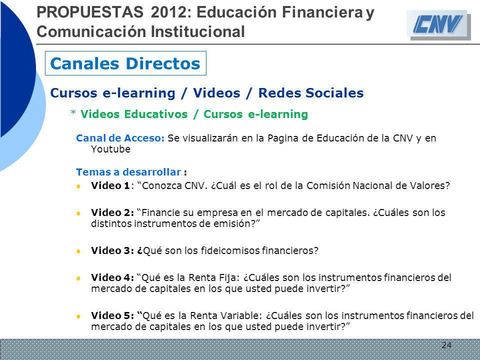 * Videos Educativos / Cursos e-learning Canal de Acceso: Se visualizarán en la Pagina de Educación de la CNV y en Youtube Temas a desarrollar : Video